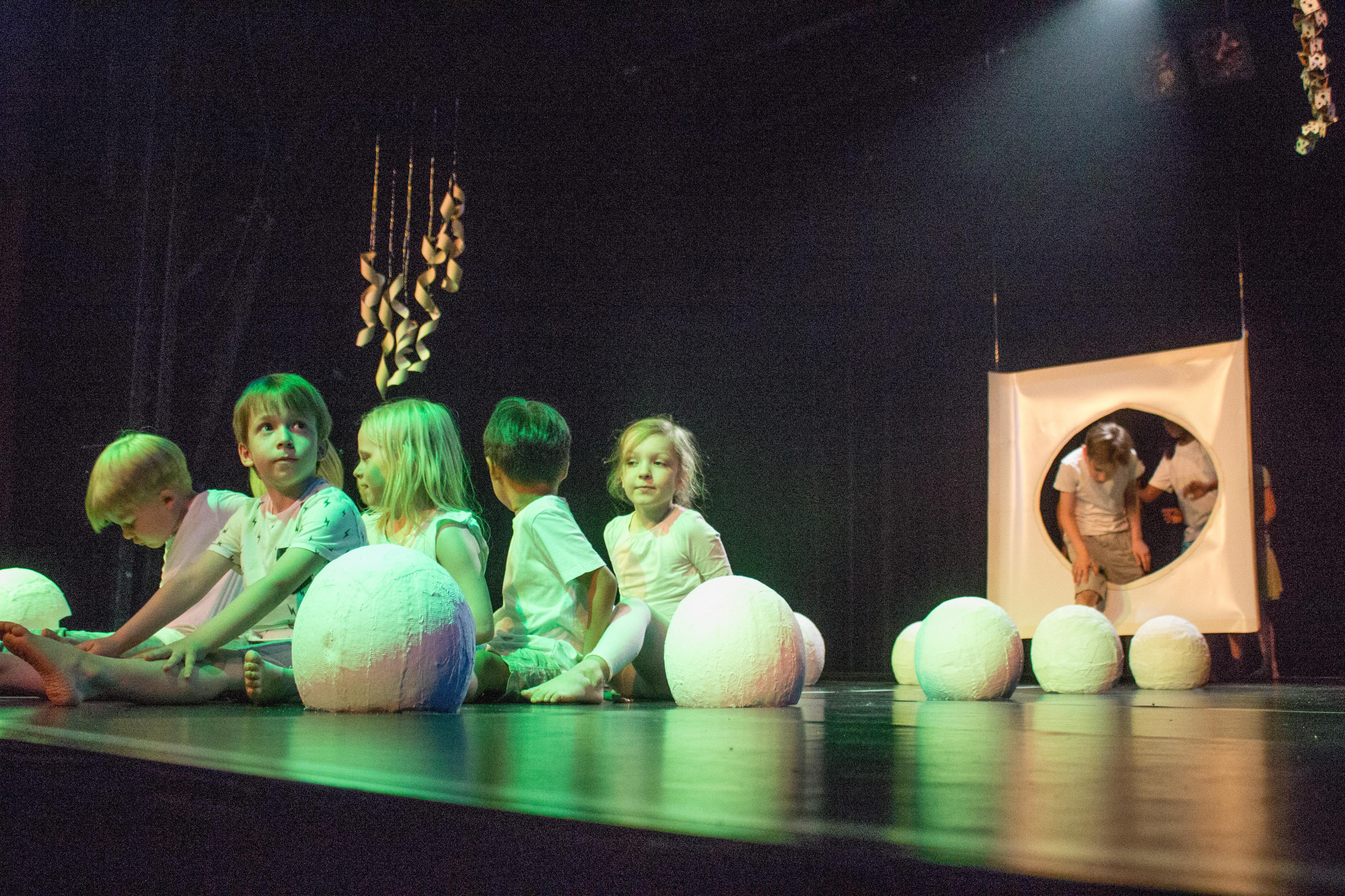 Vorne links sitzen sechs Kinder in Zweierreihe auf der Bühne. Sie sind grün angeleuchtet und schauen sich gegenseitig an. Neben ihnen befinden sich kopfgroße Kugeln aus weißem Gibs auf dem Boden. Rechts im Hintergrund ist eine Stellwand aus Papier mit einem Loch abgebildet, durch das gerade weitere Kinder steigen.