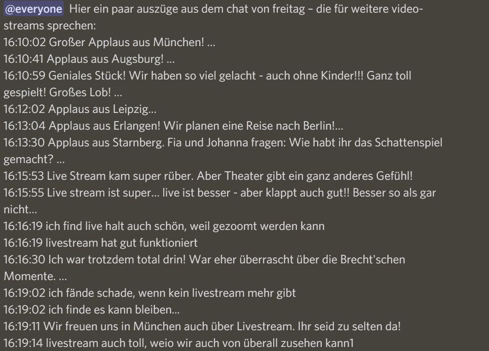 Begeisterte Kommentare von Zuschauer*innen aus verschiedenen deutschen Städten.