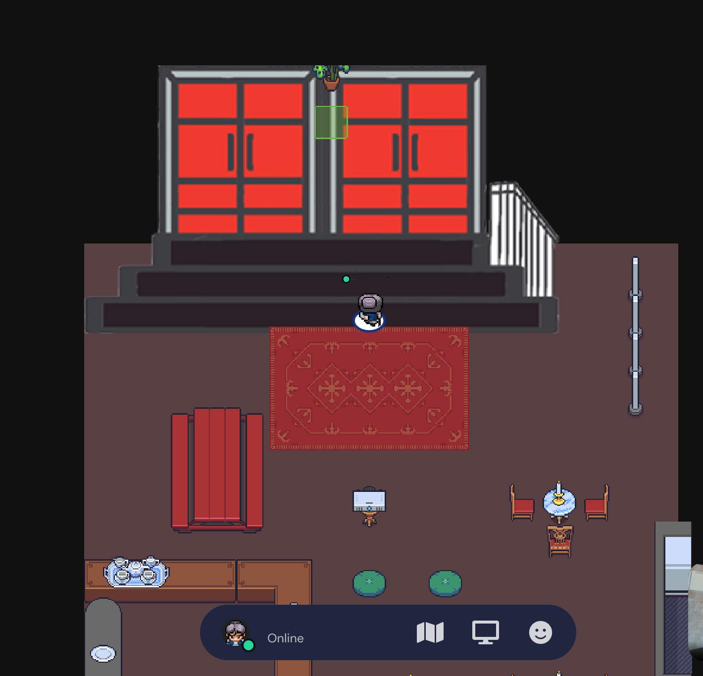 Das Foyer der Schaubude in 2D-Optik der PLattform Gather.Town: Rote Türen zum Saal, Sitzgelegenheiten, die Bar.