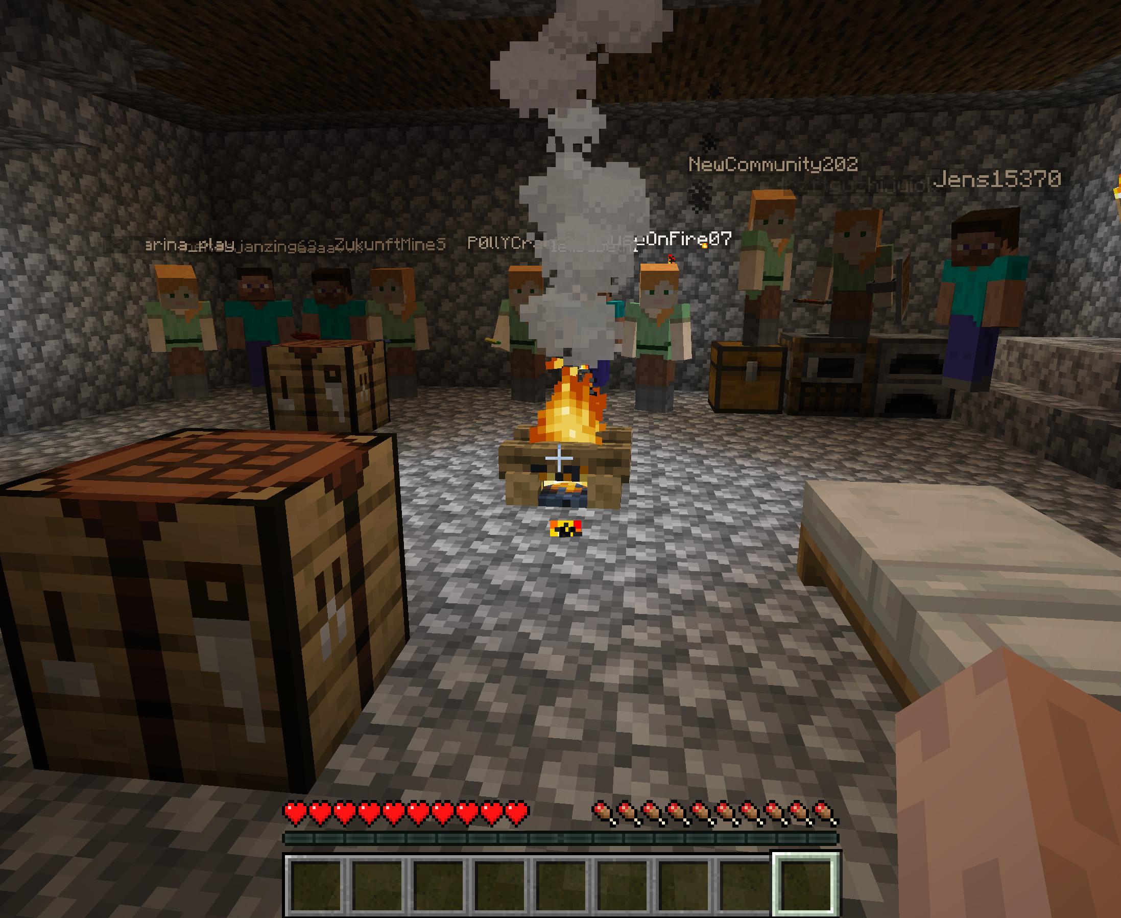 Screenshot eines Minecraft-Settings: In der Mitte eines halbdunklen Raums mit Kopfsteinpflaster und herumstehenden Holzquadern befindet sich eine Feuerstelle. Dahinter sind ca. 15 Avatare des Schaubude-Teams an der Wand aufgereiht. Über ihren Köpfen stehen die Spielnamen der Mitarbeiter*innen.