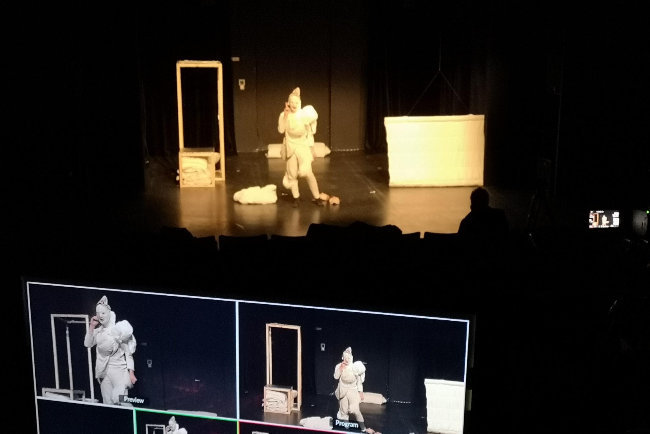Bildschirm mit verschiednenen Frames, die das zeigen, was weiter hinten auf der Bühne zu sehen ist: Eine Figur in weißem Kostüm, daneben zwei eckige Gegenstände auf der Bühne.