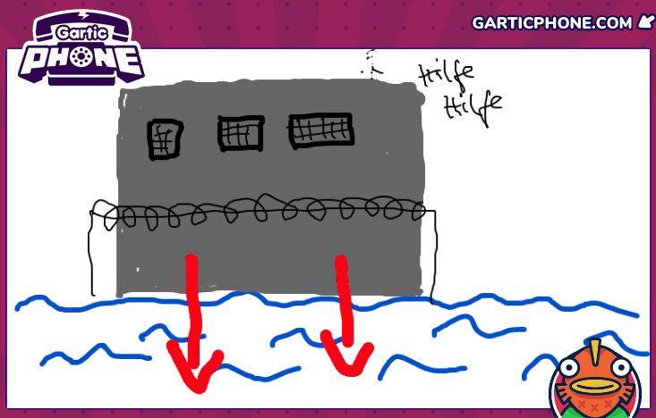 Zeichnung einer Art Gefängnis, das im Meer steht, in das zwei rote Pfeile weisen. Oben drüber steht