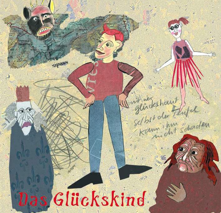 Kindlich gezeichnetes und gemaltes Plakatmotiv, auf dem fünf Leute zu sehen sind: in der Mitte ein lächelnder Junge mit roten Haaren und in die Hüfte gestemmten Händen, in den Ecken ein grimmiger König, ein fröhliches Mädchen mit rotem Bastrock, eine etwas gruselig aussehende alte Frau und ein Teufel.
